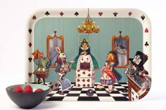 louise-kirk-alice-in-the-court-of-hearts-wooden-tray at Galerie CO + celebrating 150 years of Alice in Wonderland