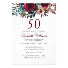 Burgundy Floral Watercolor 50th Birthday Invite - birthday invitations diy customize personalize card party gift