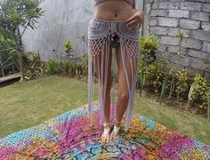 Gypsy, crochet, tassel skirt, with long fringe. Made from an original pattern from the seventys.