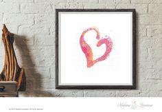 Printable Art Heart Art Print Watercolor Heart by TheParisWife