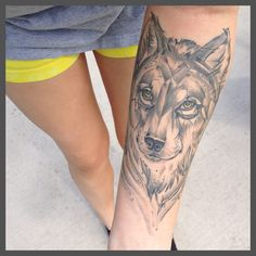 Wolf tattoo by Taylor Jackson at Blue Devil Tattoos in Ybor City, FL. Nicely done.