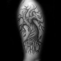 Shaded Tree With Family Lettering Roots Mens Arm Tattoo Design Ideas Tree Tattoo Designs, Tattoo Designs For Women, Tattoo Ideas, Urban Threads, Tree Wallpaper Iphone, Willow Tree Tattoos, Arm Tattoo, Tattoo Tree, Japanese Tree
