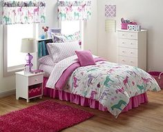 Girls Pony Horse Twin Comforter, Sheets, Sham + BONUS Valances & Toss Pillow (9 Piece Bed In A Bag)