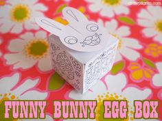the funny bunny #easter egg box #printable: keep your easter egg hidden with the interlocking bunny face lid! available in full color, or black and white color-in design!