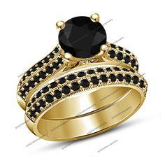 Women's 10K Gold Plated Black Diamond Bridal Engagement Bridal Ring Set 5 6 7 8  #br925silverczjewelry