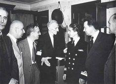 Nikola Tesla with King Peter of Yugoslavia in Hotel New Yorker on July 15, 1942. Tesla's nephew, Sava Kosanovic, is third from the left.