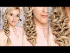▶ Holiday hair tutorial ❤ Cute, easy CURLY UPDO for medium long hair - YouTube