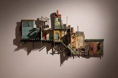 Louver gallery presents: Michael C. McMillen: Sideshow, Matrix 171 including works by Michael C. Sculptures Céramiques, Sculpture Art, Cardboard City, Architectural Sculpture, 3d Modelle, Building Art, Driftwood Art, Miniature Houses, Oeuvre D'art