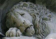 """""""The Lion of Lucerne, is a sculpture in Lucerne, Switzerland, designed by Bertel Thorvaldsen and hewn in 1820–21 by Lukas Ahorn."""