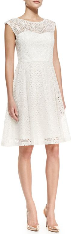 Sue Wong Cap-Sleeve Eyelet Fit-and-Flare Cocktail Dress, White