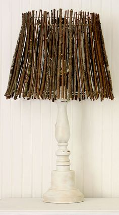 twig lamp shade Twig Lamp Shade tutorial - perfect for fall - this would keep with a simple elegant yet earthy bedroom theme.Twig Lamp Shade tutorial - perfect for fall - this would keep with a simple elegant yet earthy bedroom theme. Diy Luminaire, Make A Lamp, Lamp Redo, Lampe Decoration, Rustic Lamps, Rustic Lamp Shades, Industrial Lamps, Room Lamp, Bed Room