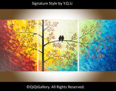 """Large Abstract Art Original Modern Heavy Texture Impasto landscape Palette Knife Tree Love Birds Painting Wall Décor """"The Sun Shines on Us"""""""