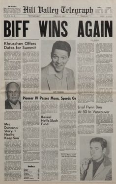 Back to the Future 2 Newspaper prop