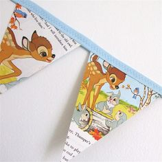 vintage storybook bunting - bambi, friends of the forest, 1985