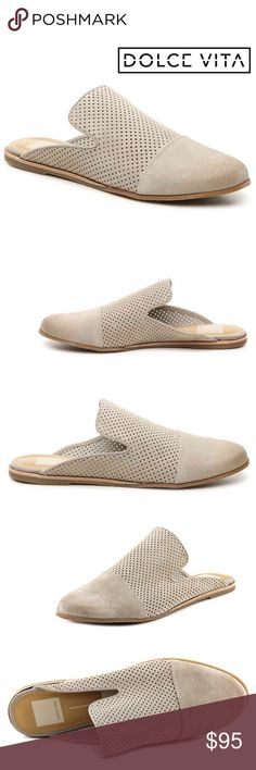 JUST IN! PERFORATED SUEDE MULE Dolce Vita shoes stand for trendy, chic style and hottest fashions buzzing in the fashion world today. Nude for a chic classic look that will make your look stand out pair this mule with a crisp white button down and dark denim. + Perforated suede upper + Flat rubber heel + Round capped toe + Notched vamp + Slide style + Padded footbed + Rubber outsole   Bundle Discount ^ No Trades ^ Offers Considered ^ Have a question? Please Ask! Dolce Vita Shoes Mules…