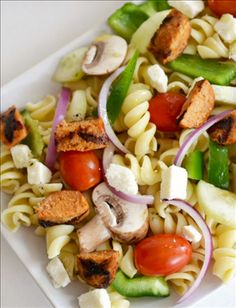 Nikos Feta Cheese | Greek Pasta Salad with Feta & Sausage- A quick and easy recipe that your family will love. Made in under 15 minutes! Uses fresh vegetables, light dressing, grilled sausage, and feta cheese...sounds good, doesn't it?