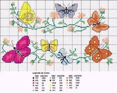 Flores y mariposas en punto de cruz - Imagui
