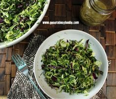 Super slaw packed with healthy crunchy cabbage, broccoli and Brussels sprouts! Topped with roasted garlic dressing.