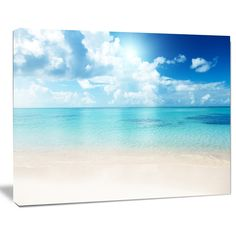 Sand of Beach in Blue Caribbean Sea - Modern Seascape Canvas Artwork - Free Shipping On Orders Over $45 - Overstock.com - 19064642