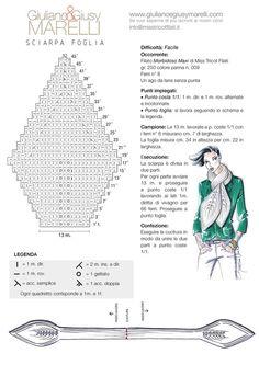 """SCIARPA FOGLIA Due """"MAXI FOGLIE"""" per la sciarpa scultura da lavorare con i ferri del n. 8. Seguite lo schema grafico con attenzione. Risulterà un lavoro facile e divertente!"""