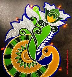 50 Attractive Rangoli Design (ideas) that you can make yourself or get it made during any occasion on the living room or courtyard floors. Rangoli Designs Flower, Rangoli Border Designs, Colorful Rangoli Designs, Rangoli Designs Diwali, Mehndi Art Designs, Beautiful Rangoli Designs, Kolam Designs, Diwali Rangoli, Rangoli Borders
