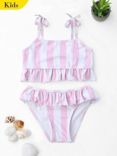 abebe5c9c7c Striped Frilled Toddler Girls Bikini Set #Fashion #Womens #Swimwear  #PinkAndWhite Flounce Bikini