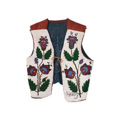 American Indian | Plateau Floral Beaded Vest | beadwork, plateau, – Cisco's Gallery Native American Indians, Native Americans, Coeur D'alene, Bugle Beads, Floral Design, Butterfly, Beadwork, Gallery