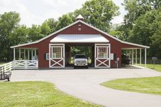 Morton Buildings horse barn in Thompson's Station, Tennessee. Morton Buildings horse barn in Thompson's Station, Tennessee. Morton Building Homes, Metal Building Homes, Building A House, Horse Barn Designs, Barn Stalls, Horse Barn Plans, Barn Shop, Barn Living, Barns Sheds