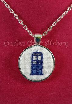 Cross Stitch Necklace  TV Show  Tardis by chaoticstitchery on Etsy