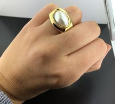 Lady's 18k yellow gold Mobe pearl ring, imported from Italy in Jewelry & Watches, Fine Jewelry, Fine Rings | eBay