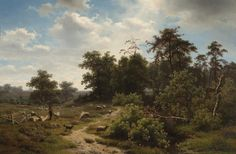 Richard Burnier (Dutch, 1825-1884) A wooded landscape with shepherd and his flock.