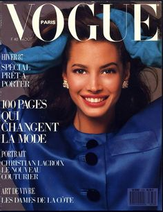 Christy Turlington en couverture du numéro d'août 1987 de Vogue Paris…