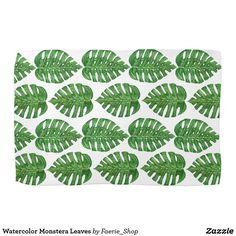 Watercolor Monstera Leaves Hand Towel #watercolor #tropical #plant #monstera #leaves #hawaii #jungle #pattern #beautiful #faerieshop #zazzle #kitchen