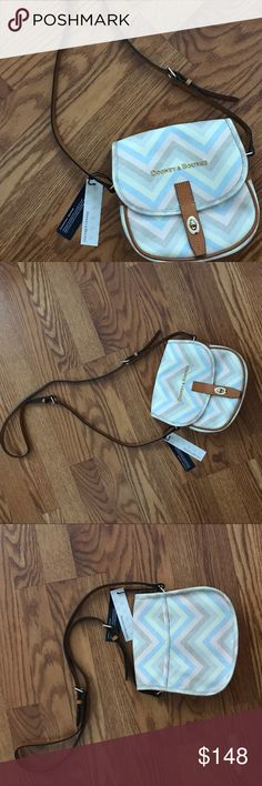 Dooney & Bourke Pastel Chevron Crossbody Field Bag Authentic Dooney & Bourke Pastel Chevron Crossbody Field Bag. NWT. Turn-lock closure & exterior back slip pocket. Interior has two slip pockets & a backwall zip pocket. Light blue lining & key keeper. Measurements: 7H x 8L x 3W with a 22in adjustable strap drop. Feel free to ask questions. No trades. Reasonable offers considered, submit one today ❣️❣️ Dooney & Bourke Bags Crossbody Bags