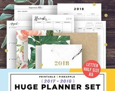 2018 Planner - Printable Planner 2018, Agenda 2018, Weekly Planner, Yearly, Half Size, A5 Planner Inserts, Monthly Calendar
