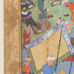 This lavish work depicting a king and his courtiers picnicking in a mountain glade is a definitive example of Safavid manuscript painting from the late 1500s. The painting illustrates a scene from the <I>Khamsa</I>, or <I>Five Poems</I>, by Nizami (c. 1140–1203), one of the greatest poets in Persian literature. The exquisite marginal drawings of animals in the midst of lush gold foliage, the finely detailed and lyrically dynamic composition, and the decorativ...