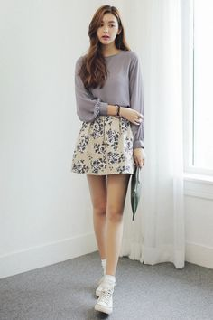 flowy blouse + floral skirt + white kicks