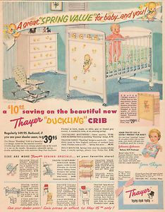 Baby Crib & Furniture (with decals - all the rage) - ad from 1956 Thayer…