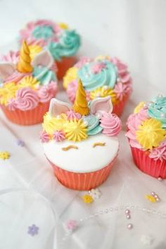 Picture of Unicorn cupcakes. stock photo, images and stock photography. Kids Birthday Cupcakes, Themed Cupcakes, Birthday Cakes, Dragon Cupcakes, Unicorn Cupcakes, Raspberry Smoothie, Apple Smoothies, Unicorn Birthday, Unicorn Party
