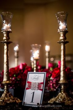 Valentino Inspired Wedding Reception Table. Red, black, gold, lace.