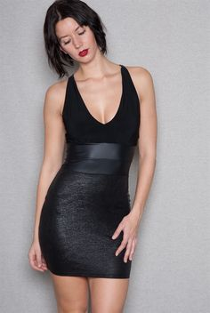 Subtle details can produce stunning results in this black bodycon combo dress Subtle contrasts in texture and shine from matte halter top to shiny faux-leather waist and cross-strap back to subtly shimmery techno mini skirt create a stunning allure that make other little black dresses pale in comparison