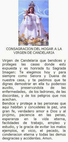 Consagración del hogar a la Virgen de Candelaria.