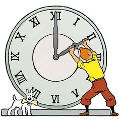 changing of the hour - tintin & snowy Fictional Heroes, Fictional Characters, Comic Book Characters, Comic Books, Tin Tin Cartoon, Captain Haddock, Herge Tintin, Old School Tattoo Designs, Vintage Fox