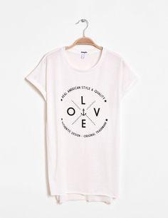 0d1db9c40fe Tee-shirt imprimé love écru femme • Jennyfer Soldes Vetements Femme
