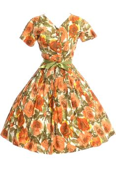 a53c8383aa8 1960 s Nelly Don Vintage Dress Orange Floral Cotton Print