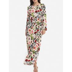 Bowknot Round Neck Cotton Floral Printed Maxi Dress (91 BRL) ❤ liked on Polyvore featuring dresses, empire maxi dress, white cotton dress, maxi dresses, floral print maxi dress and cotton beach dresses