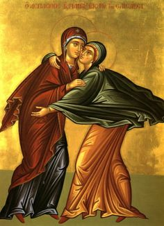 Today, we celebrate the feast of the Visitation of Our Lady to S. Religious Images, Religious Icons, Religious Art, Byzantine Art, Byzantine Icons, Lucas 1, Religion Catolica, Russian Icons, Holy Mary