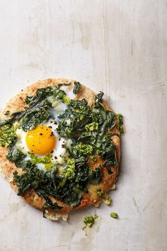 Egg Topped Pita Pizza