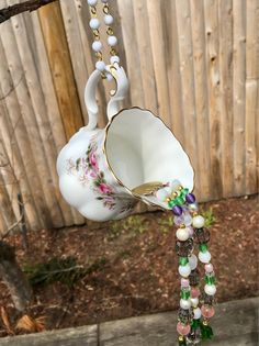 Repurposed Creamer Mobile, Hanging Garden Art, Kitchen Decor, Mothers Day Gift, Sun Catcher, Upcycled Vintage, Pink Floral Mobile