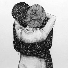 19, art, artist, boy and girl, couple, drawing, dream, hug, imissyou, love, space, longdistancerelationship